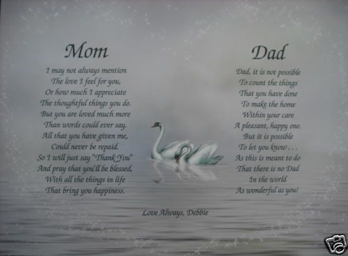 POEMS PERSONALIZED PRINT ANNIVERSARY, CHRISTMAS, ETC. GIFT FOR PARENTS