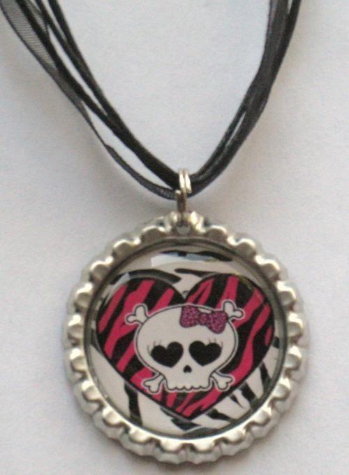 Boutique Bottlecap Necklace SKULL GIRL Bow Zebra Pink