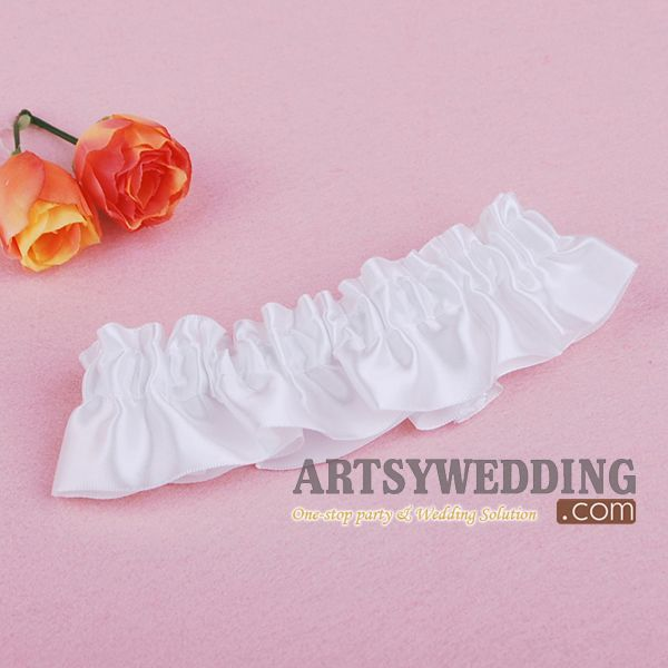 Promotion White Stretch Satin Toss Party Wedding Bridal Garter