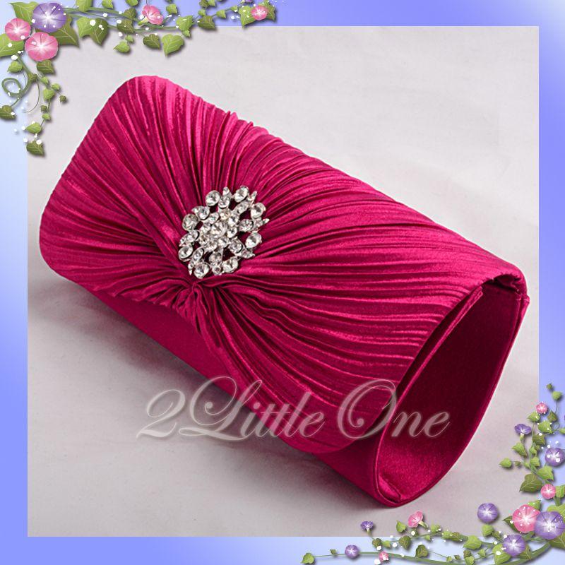 Hot Pink Satin Evening Wedding Prom Clutch Purse Bag