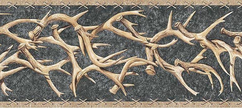 WESTERN DEER ANTLERS Wallpaper Border TA39015B