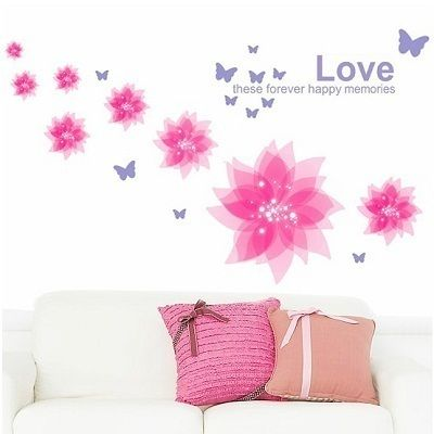 Removable Romantic Pink flower Wall Sticker decor Decal living room