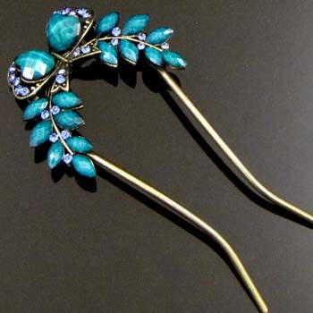 1 AUSTRIAN rhinestone crystal bow tie hair fork wedding