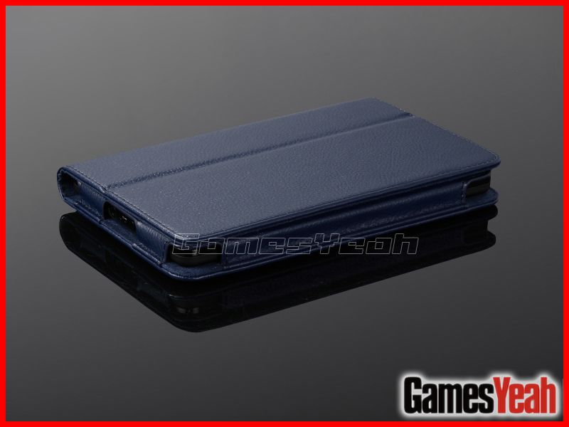 Blue F Kindle Fire PU leather Case Cover/Car Charger/USB Cable/Stylus