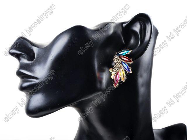 New Great Angel Wings Feathers Colorful Rhinestone Gem Stud Earrings+