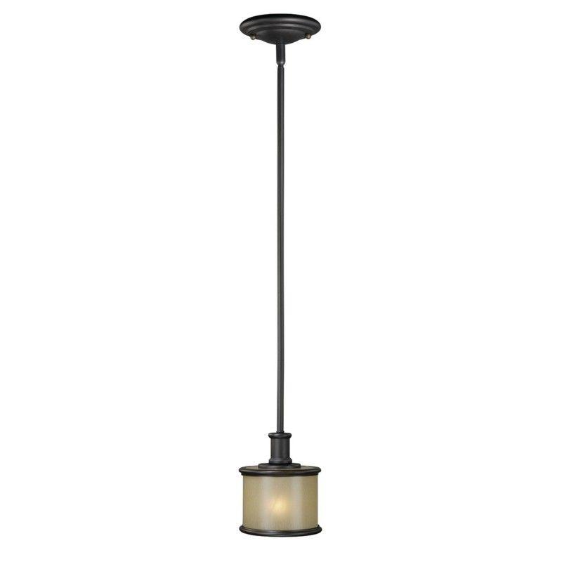 NEW 1 Light Mini Pendant Lighting Fixture, Noble Bronze, Smoky Opal
