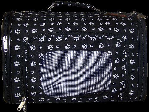 Luggage Style black & white paw prints pet carrier NEW