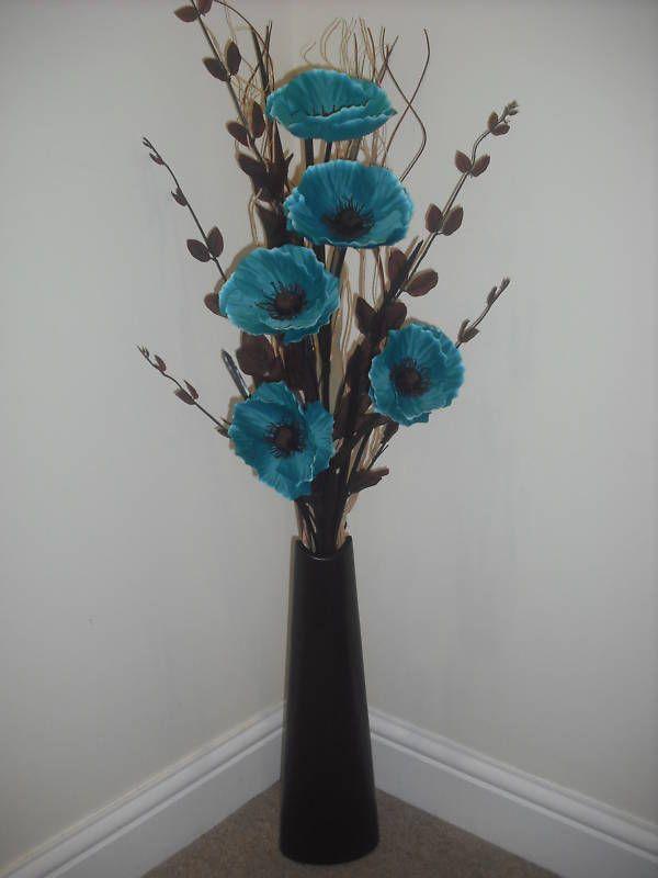 Teal silk flower arrangement black vase 1 metre tall mightylinksfo